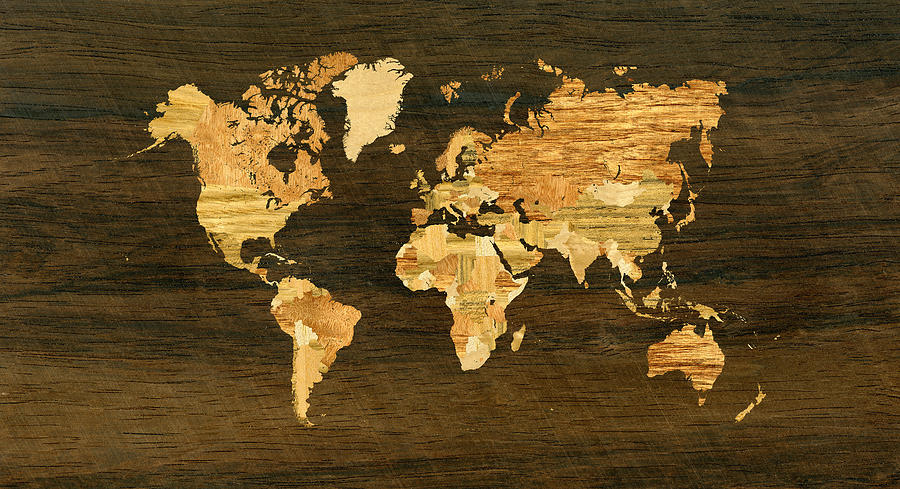 Wooden World Map Digital Art