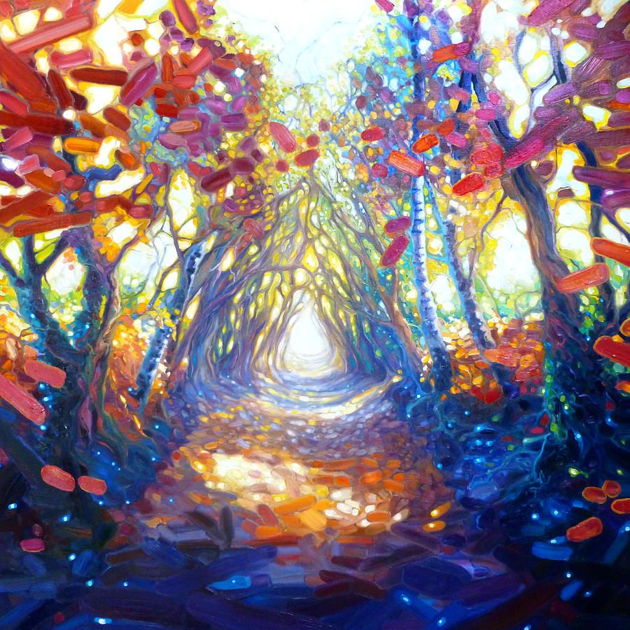 woodland path to somewhere wonderful painting by gill