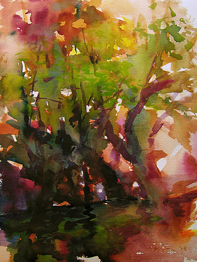 Woods And Creek Watercolor Painting