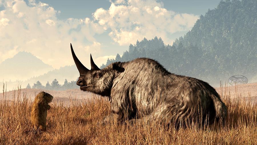 Rhino Digital Art - Woolly Rhino And A Marmot by Daniel Eskridge