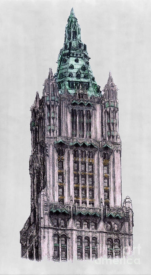 Woolworth Building New York City Drawing  - Woolworth Building New York City Fine Art Print