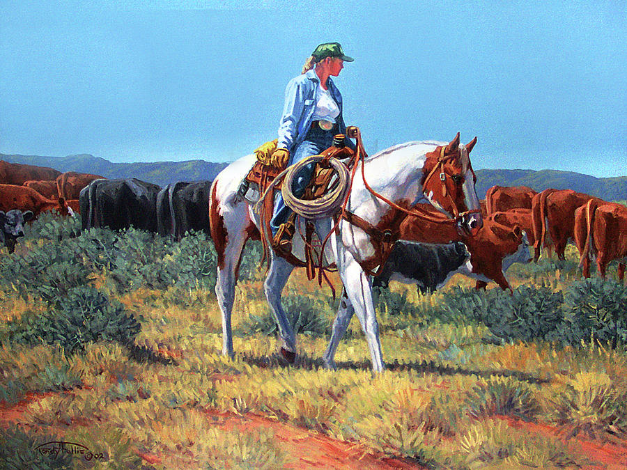 Working Cowgirl Painting  - Working Cowgirl Fine Art Print