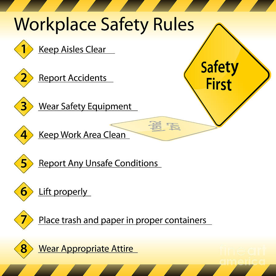 Workplace safety rules digital art by john takai for 5 bathroom safety tips