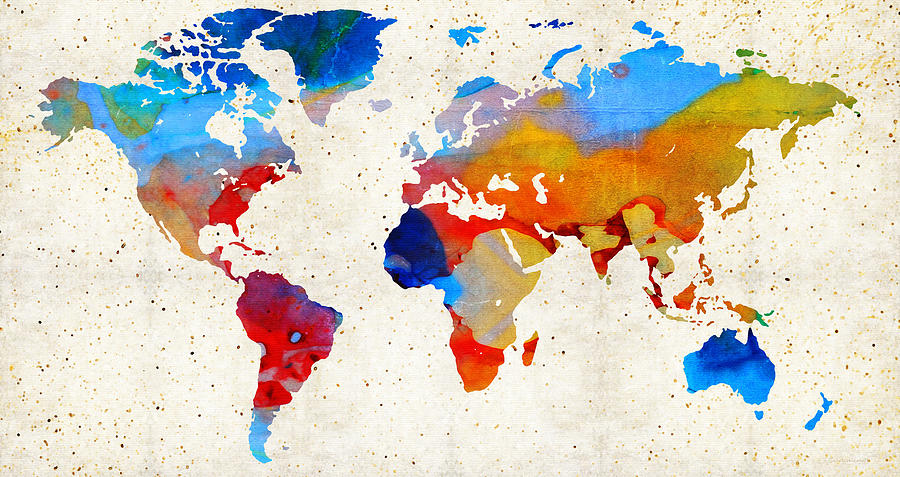 World Map 18 - Colorful Art By Sharon Cummings Painting  - World Map 18 - Colorful Art By Sharon Cummings Fine Art Print