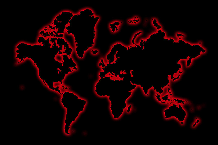 World Map In Glow Red Photograph By Andrew Fare