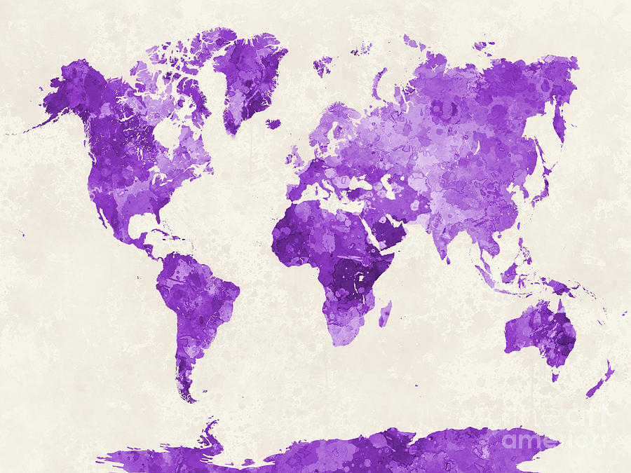 World Map In Watercolor Purple Painting By Pablo Romero