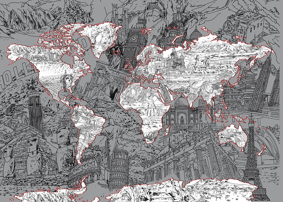 World Map Landmark Collage 5 Painting By Bekim Art