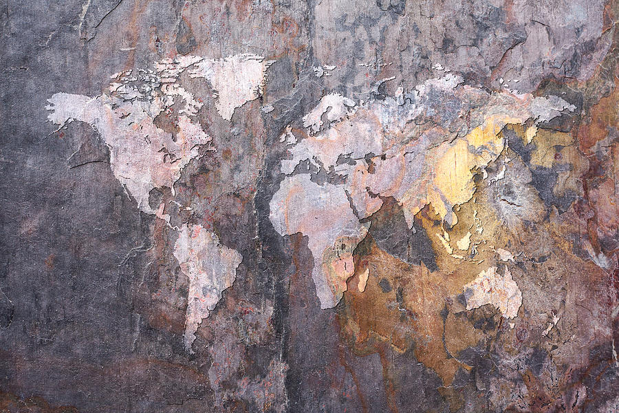 World Map On Stone Background Digital Art