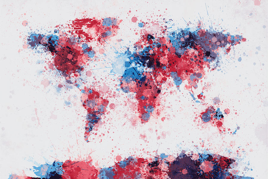 World Map Paint Splashes Digital Art  - World Map Paint Splashes Fine Art Print