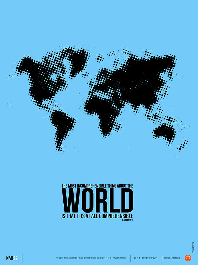 Motivational Digital Art - World Map Poster by Naxart Studio