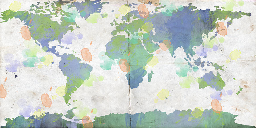 Feature Art Digital Art - World Map Watercolor 4 by Paulette B Wright