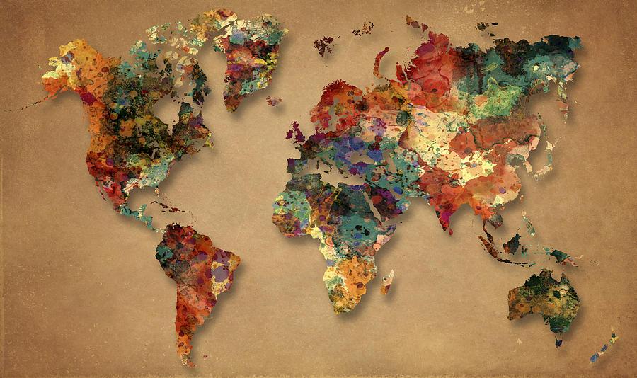 World Map Watercolor Painting 1 Painting By Georgeta Blanaru