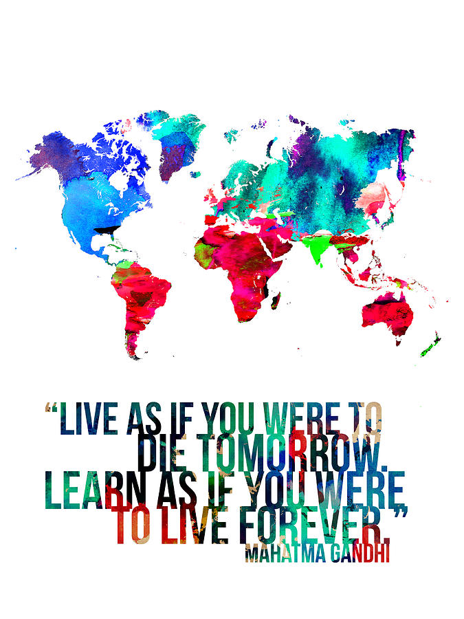 World Map With A Quote Painting