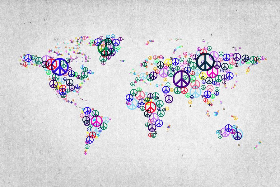 World Map Digital Art - World Peace Map by Aged Pixel