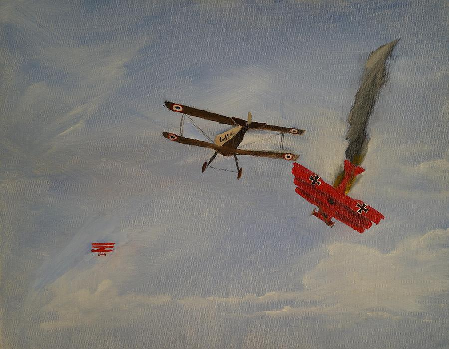 World War I Dogfight 3 Planes In Battle Painting