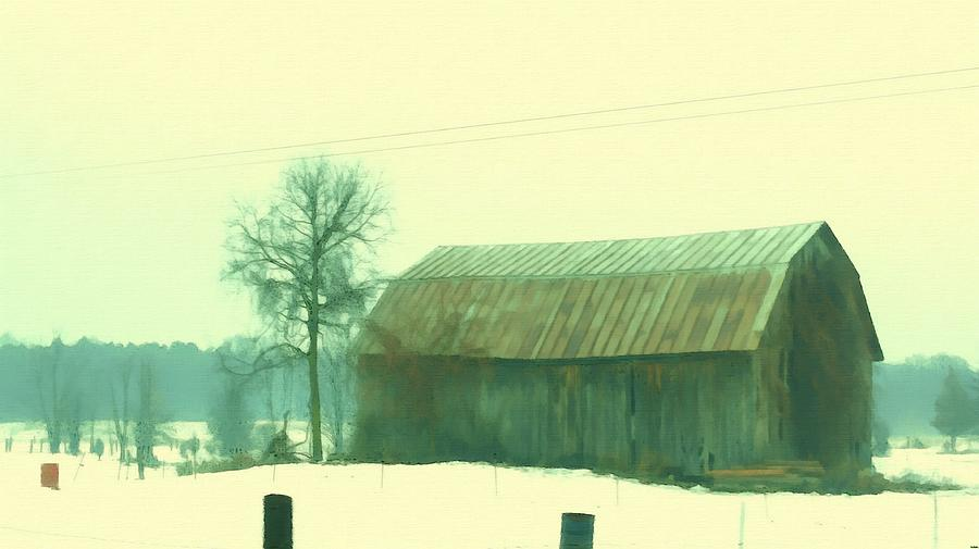 Worn Old Barn In Winter Painting