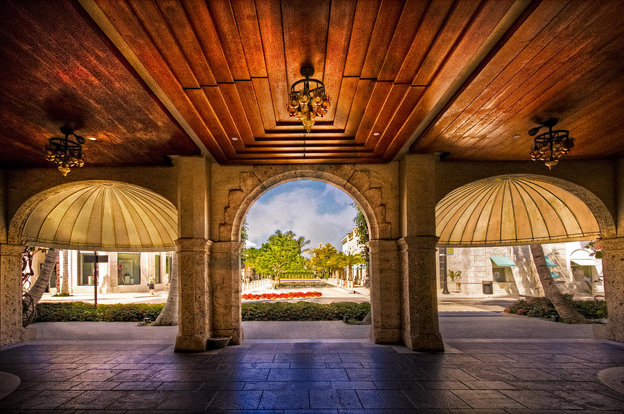 Clouds Photograph - Worth Avenue Courtyard by Debra and Dave Vanderlaan