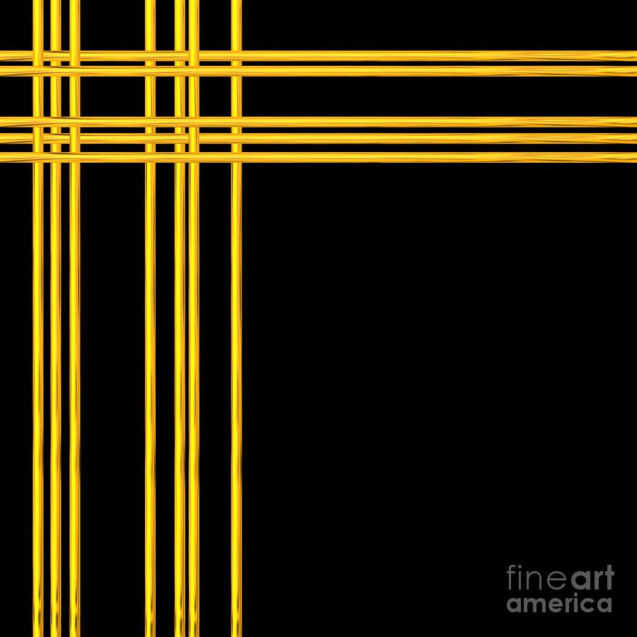 Woven 3d Look Golden Bars Abstract Digital Art