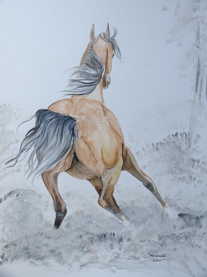 Horse Original Painting Painting - Wow by Janina  Suuronen