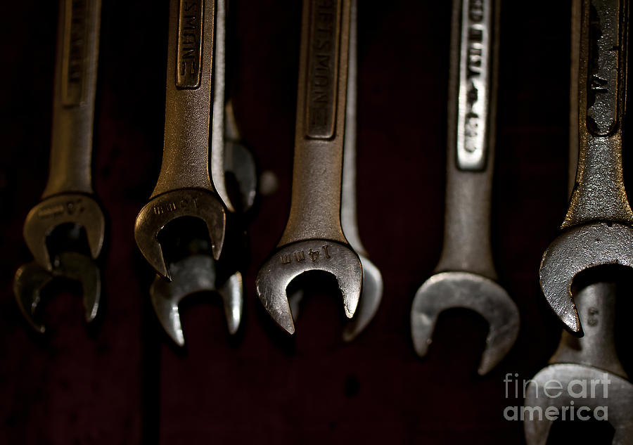 Wrenches Hanging On The Shop Wall Photograph  - Wrenches Hanging On The Shop Wall Fine Art Print