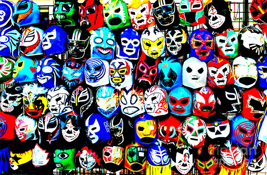 Wrestling Masks Of Lucha Libre Altered Photograph