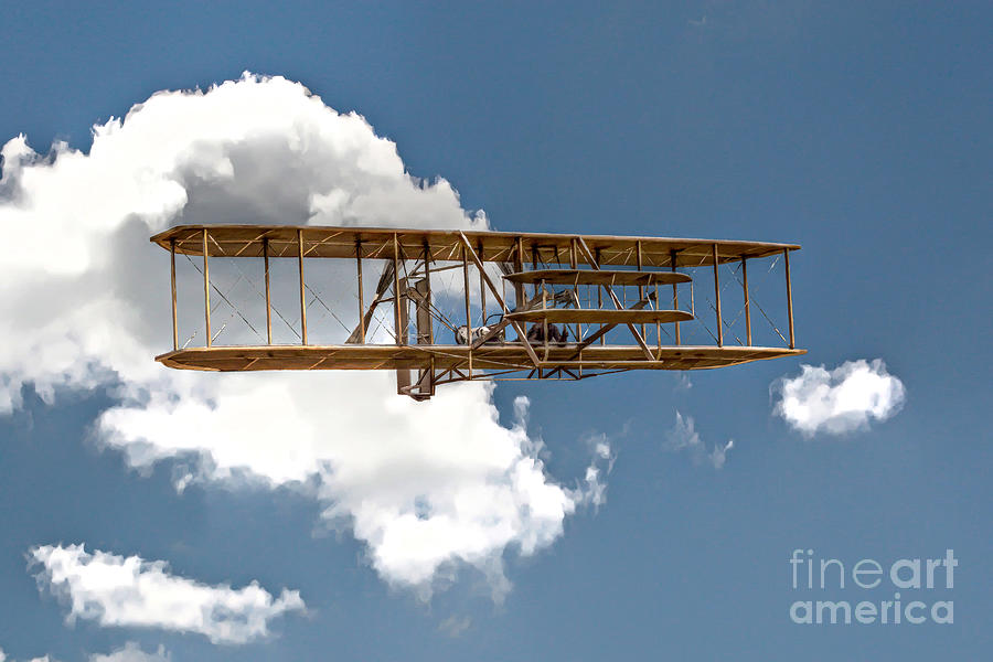 Wright Brothers First Flight Digital Art  - Wright Brothers First Flight Fine Art Print