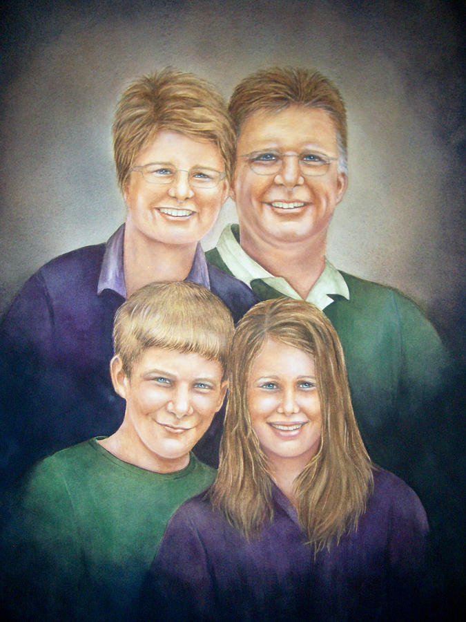 Wright Family Portrait Painting  - Wright Family Portrait Fine Art Print