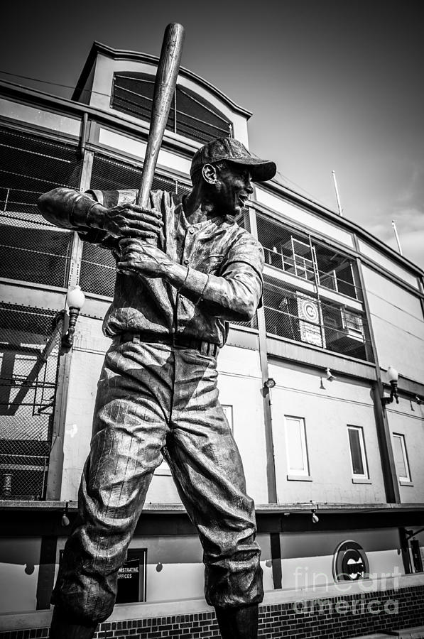 Wrigley Field Ernie Banks Statue In Black And White Photograph  - Wrigley Field Ernie Banks Statue In Black And White Fine Art Print