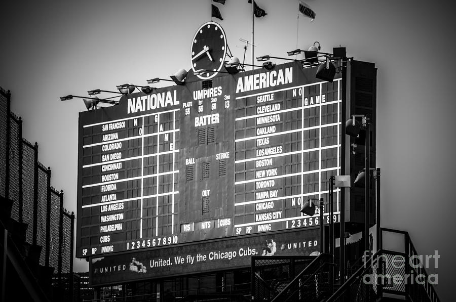 Wrigley Field Scoreboard Sign In Black And White Photograph