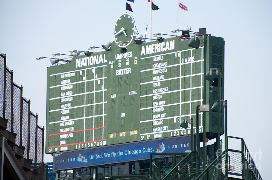 Chicago Photograph - Wrigley Field Scoreboard Sign by Paul Velgos