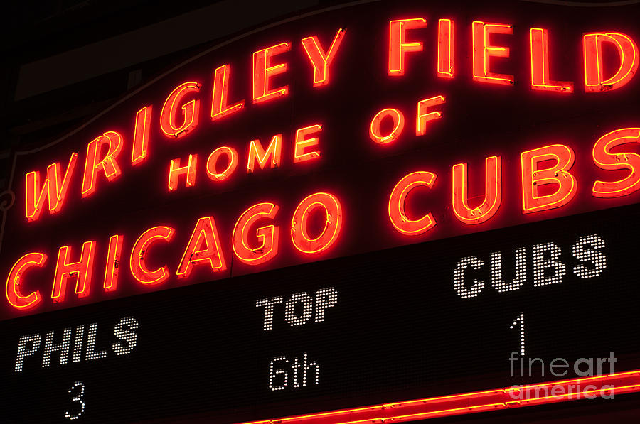 Chicago Photograph - Wrigley Field Sign At Night by Paul Velgos