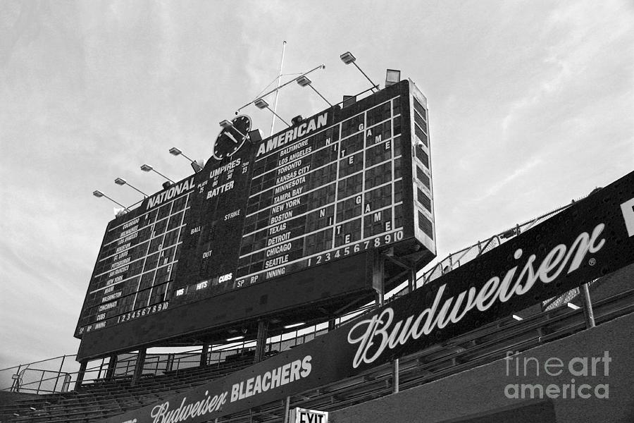 Wrigley Scoreboard Sans Color Photograph