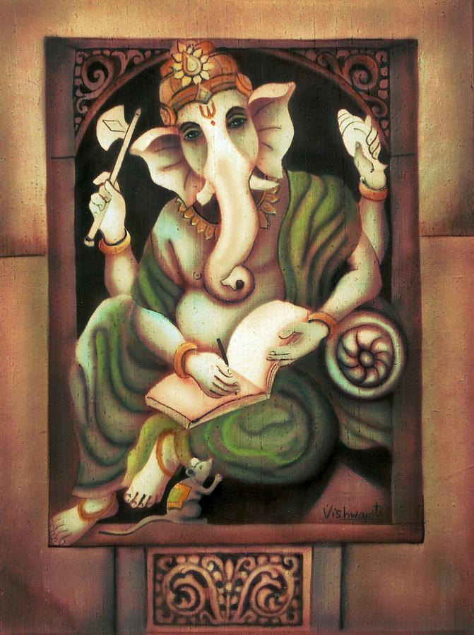 Writing Ganesh Painting  - Writing Ganesh Fine Art Print