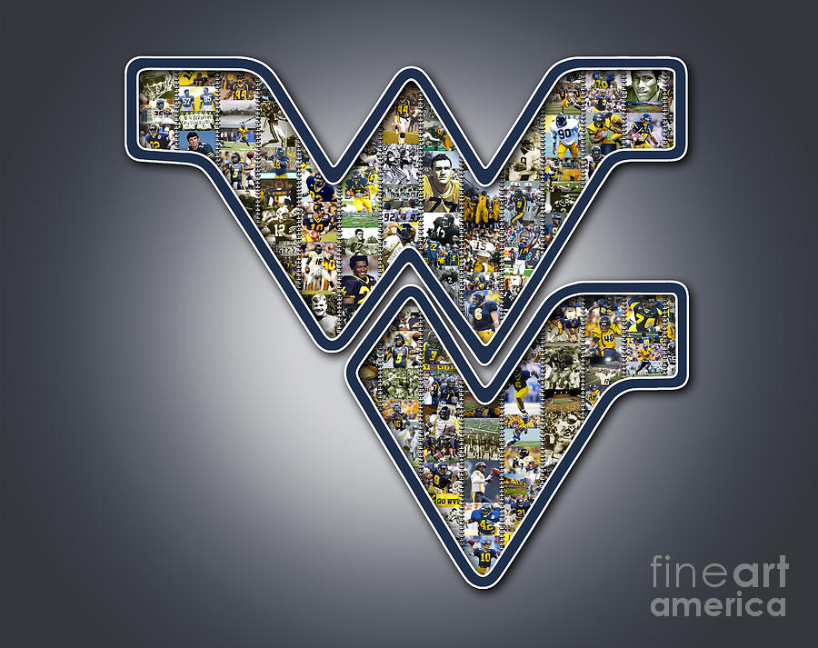 Wvu Football Gray Digital Art  - Wvu Football Gray Fine Art Print