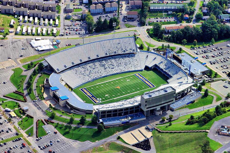 Wvu Prints Photograph - Wvu Mountaineer Stadium Aerial by Mattucci Photography