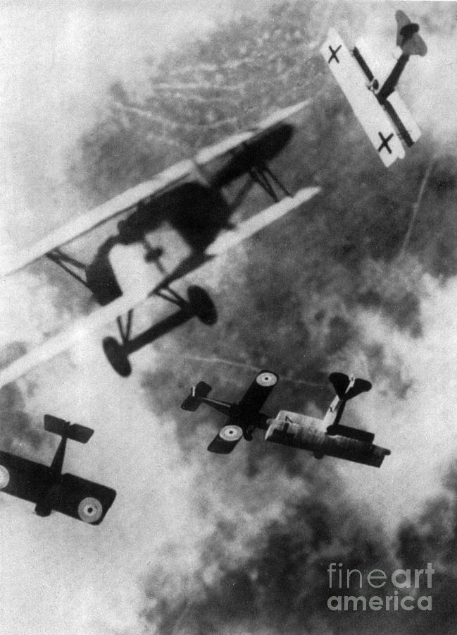 Technology Photograph - Wwi German British Dogfight by Nypl