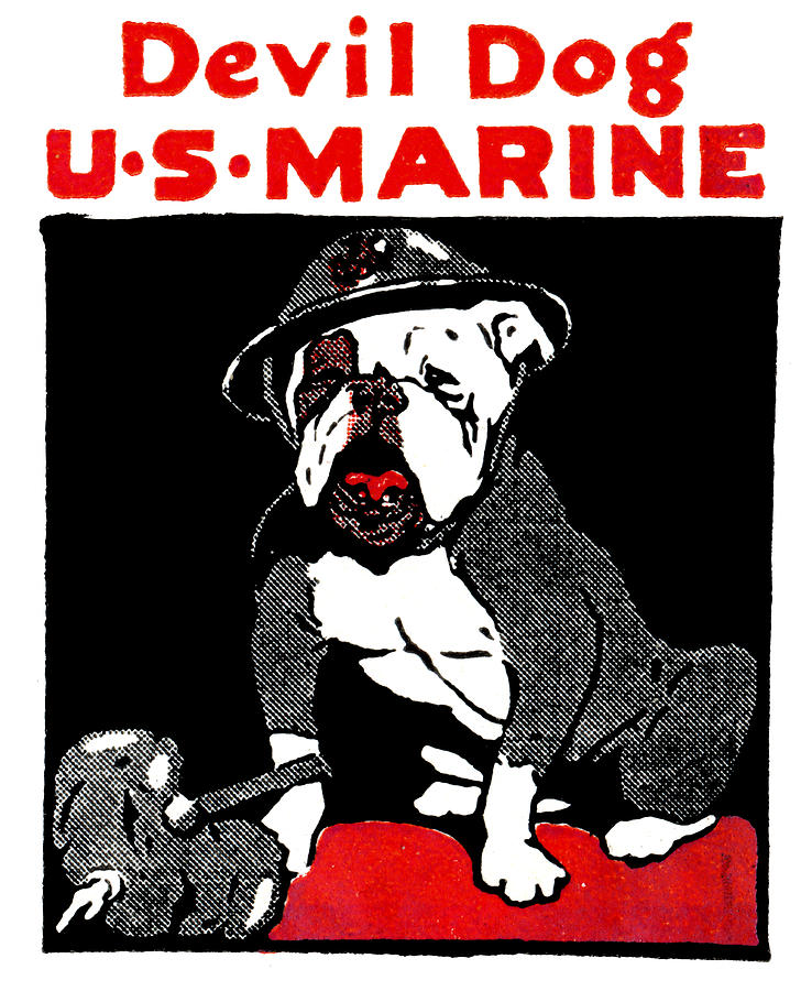 Wwi Marine Corps Devil Dog Painting