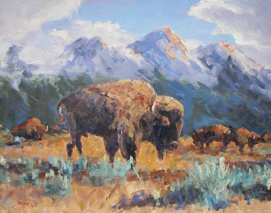 Wyoming Buffalo  Painting  - Wyoming Buffalo  Fine Art Print