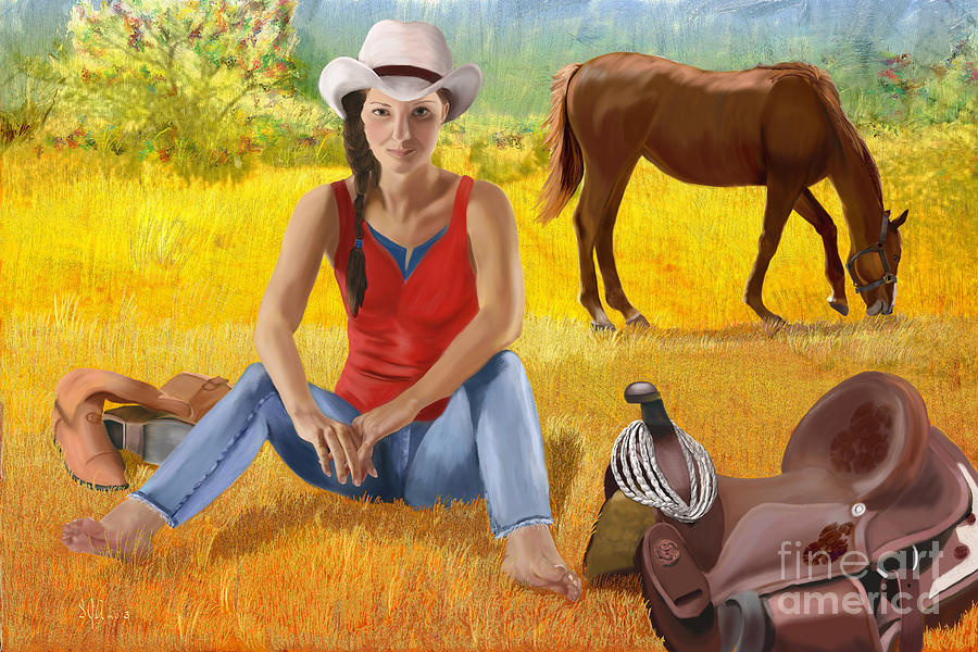 Wyoming Girl Painting