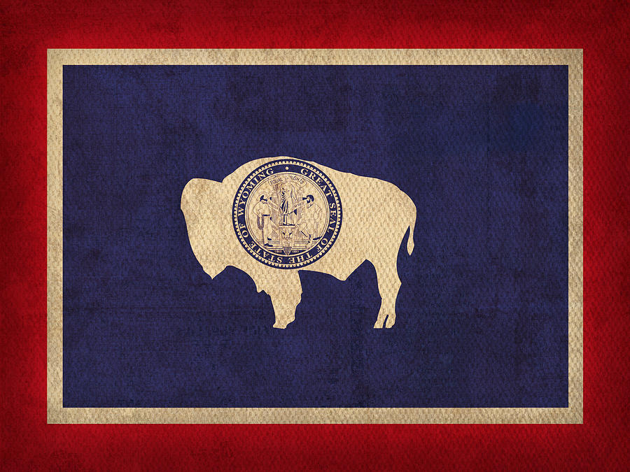 Wyoming State Flag Art On Worn Canvas Mixed Media  - Wyoming State Flag Art On Worn Canvas Fine Art Print