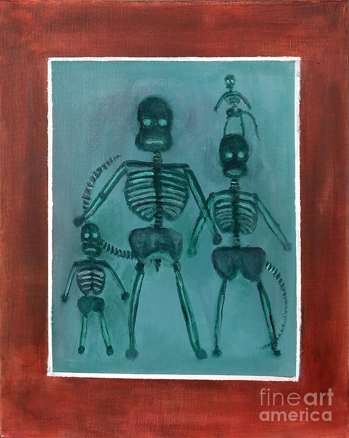 X Ray Sock Monkey Family Painting  - X Ray Sock Monkey Family Fine Art Print