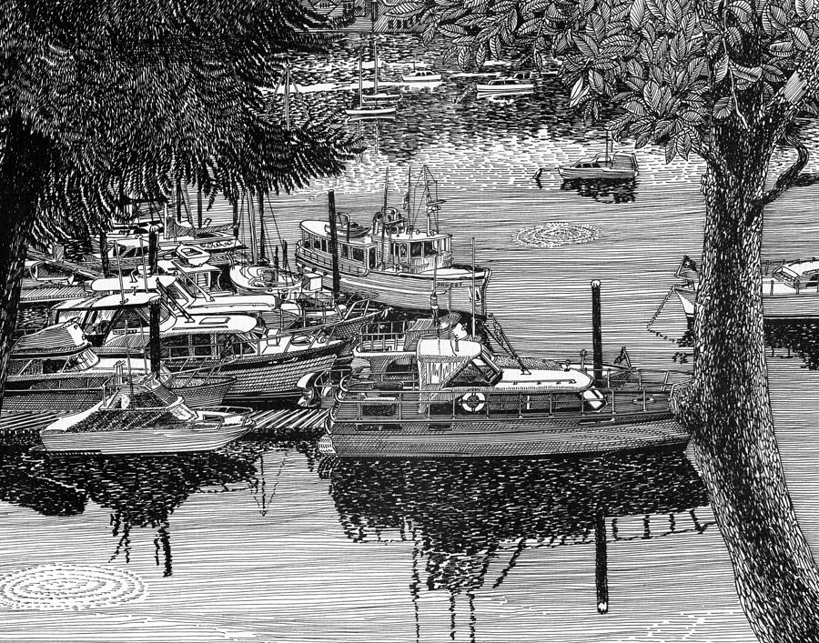Yacht Portraits Drawing - Port Orchard Yacht Club Cruise To Vashon Island by Jack Pumphrey