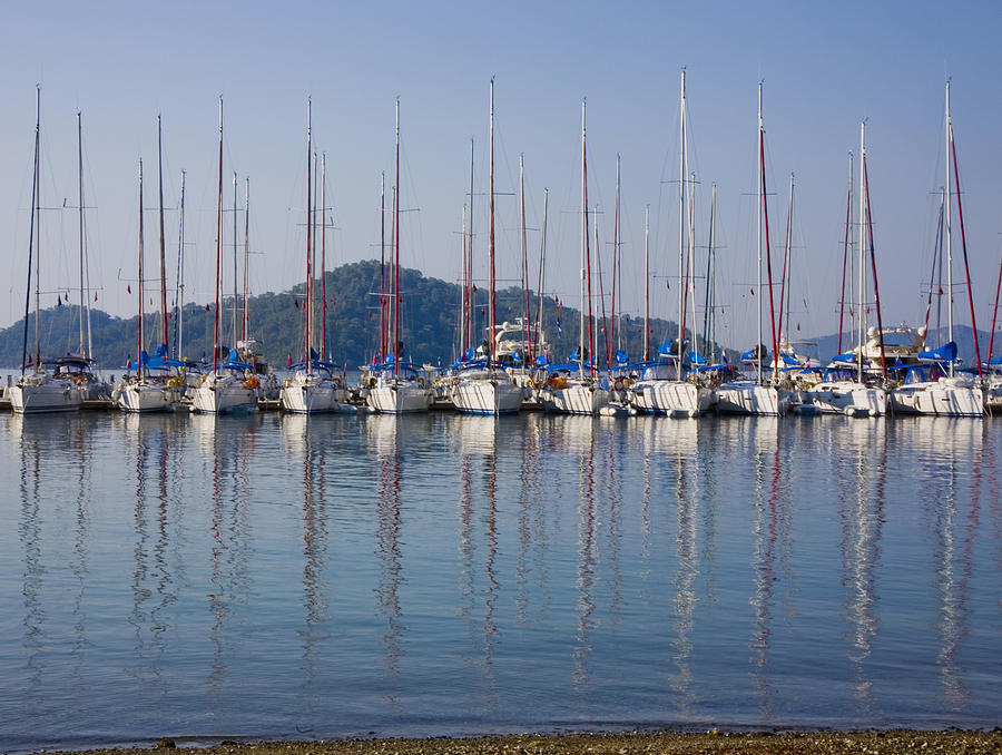 Yachts Docked In The Harbor Gocek Photograph