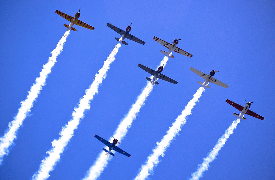 Flight Formation Photograph - Yak 52 Formation by Phil motography Clark