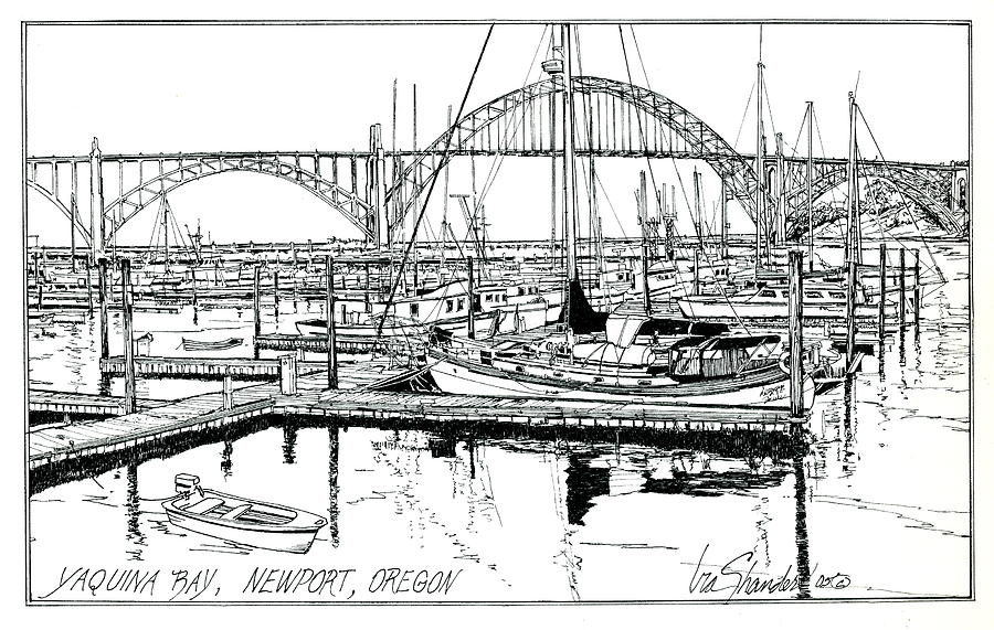 Yaquina Bay Newport Oregon Drawing