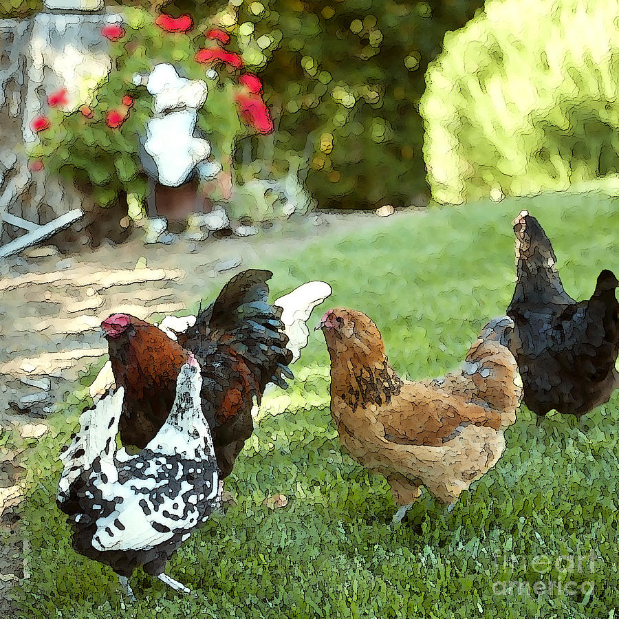 Yard Party With The Chickens Painting  - Yard Party With The Chickens Fine Art Print