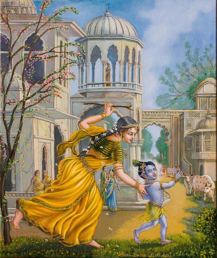 Child Painting - Yashoda Chasing Baby Krishna by Dominique Amendola