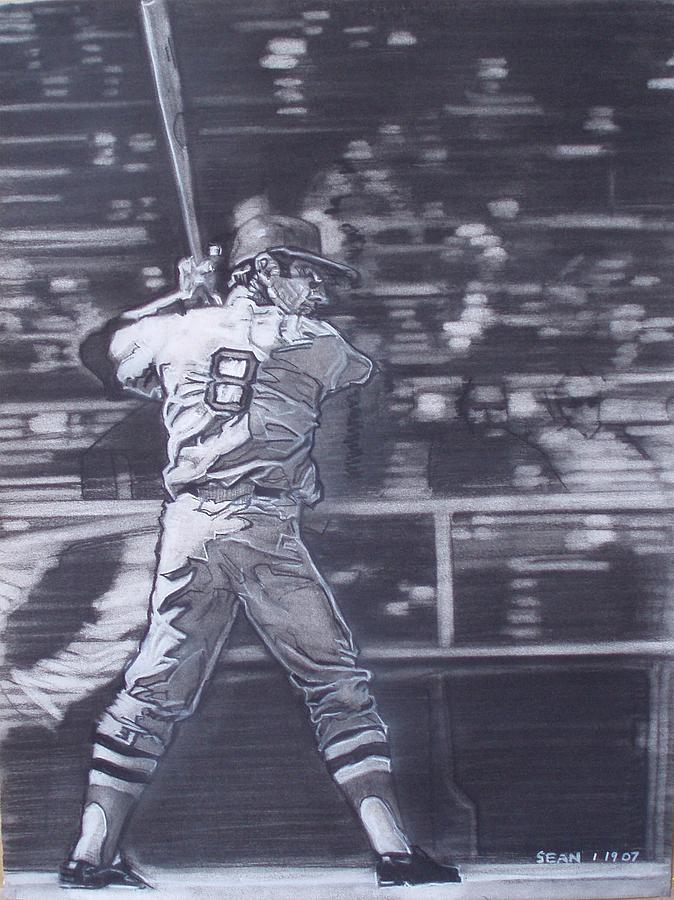 Charcoal Drawing - Yaz - Carl Yastrzemski by Sean Connolly