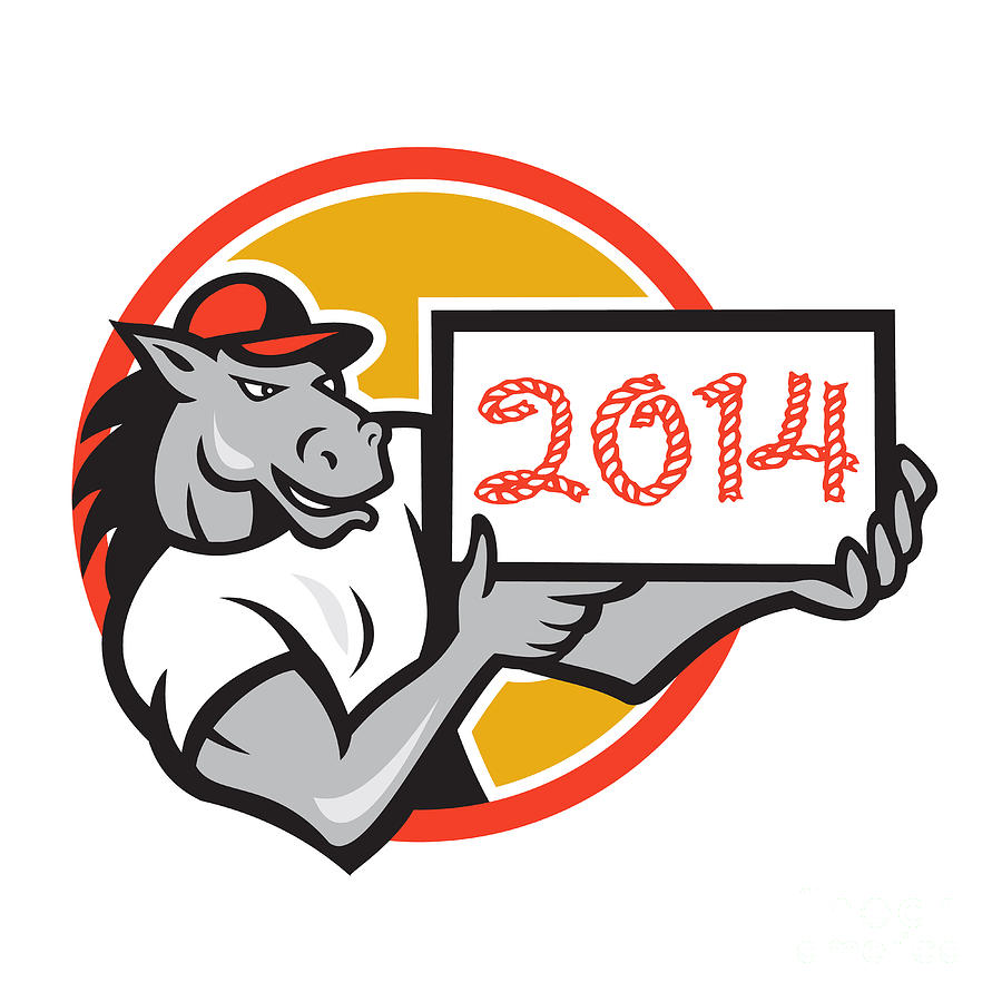 Year Of Horse 2014 Showing Sign Cartoon Digital Art  - Year Of Horse 2014 Showing Sign Cartoon Fine Art Print