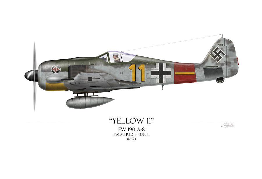 Aviation Painting - Yellow 11 Focke-wulf Fw 190 - White Background by Craig Tinder